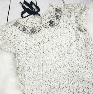 Loft Off white Lace jeweled peter pan collar top
